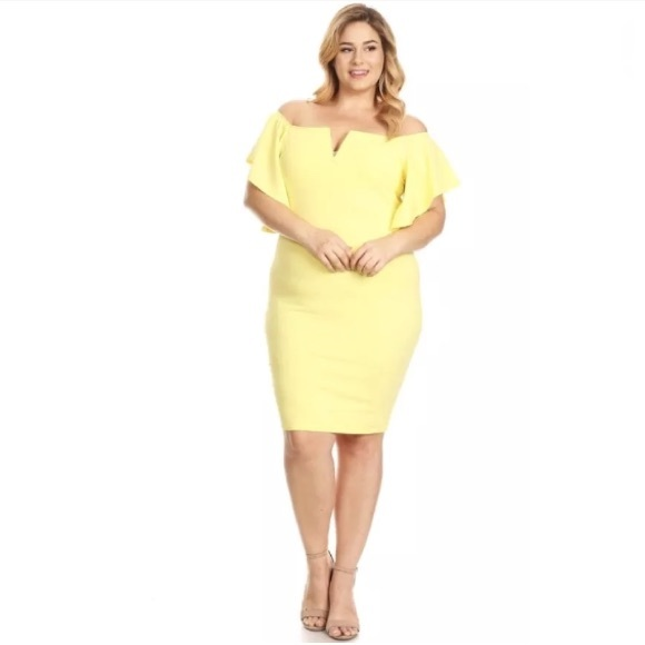5e70fa027c62 Plus Yellow Off Shoulder Flutter Midi Dress